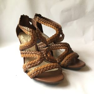 Etienne Aigner // Brown Braided Leather Wedges 8
